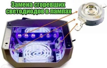 Ремонт led лампы для маникюра